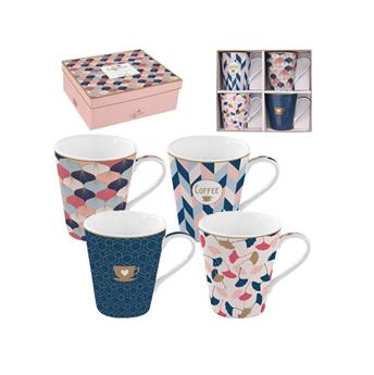 Coffee Mania Home Sweet Home Mug Conique Porcelaine Rose - les 4