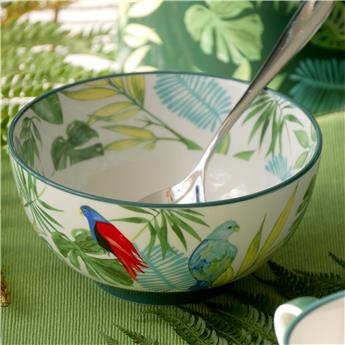 TROPICAL NIGHTS Coupelle Porcelaine Décor Feuilles tropicales D15  - Les 4