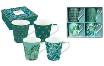 Coffee Mania Jungle Mug Conique Porcelaine Vert - les 4
