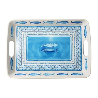 PORTOFINO Plateau de service rectangle mélamine 47 x 33.5 Bleu