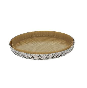Moule à tarte rond cannelé fond amovible Inox perforé de BUYER D28